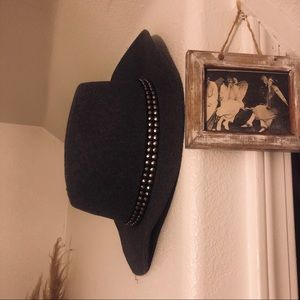 Wool Blend Hat with Silver Stud Detail